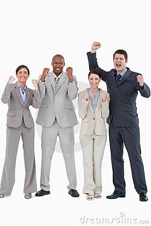 Businessteam cheering together