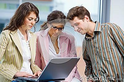 Businessteam working on computer
