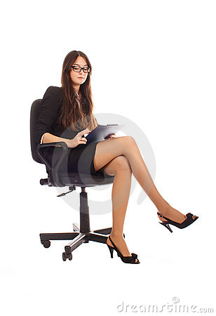 Businesswoman with advisor on office chair