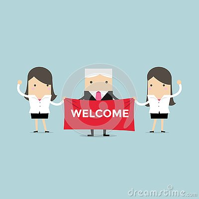 Free Businesswoman And Boss Holding Welcome Sign. Royalty Free Stock Images - 130438129