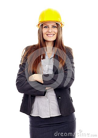 Businesswoman with arms folded and helmet on head
