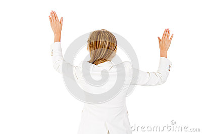 Businesswoman with arms open