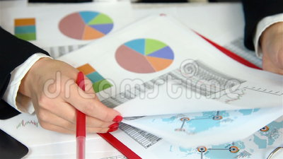 Businesswoman Audit Financial Reports. Extra Close Up stock footage