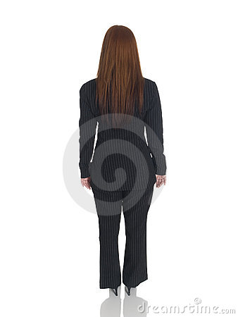 Businesswoman - back arms sides