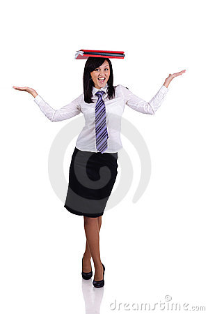 Businesswoman balance with papers
