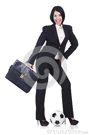 Businesswoman with ball
