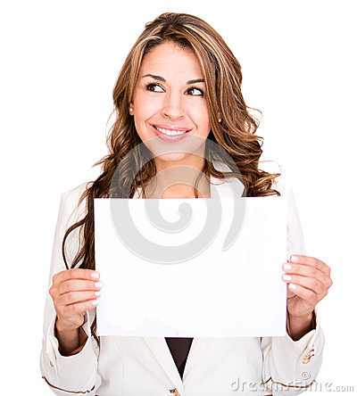 Businesswoman with a banner ad
