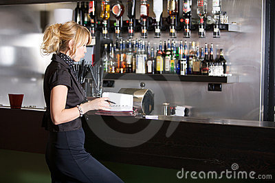 Businesswoman in the bar
