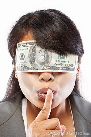 Free Businesswoman Being Blinded With Money Royalty Free Stock Images - 20479889