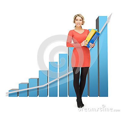 Businesswoman with big 3d chart and folders