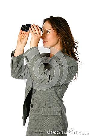 Businesswoman with binocular