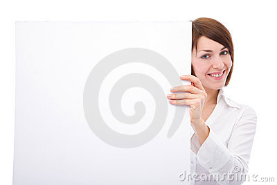 Businesswoman with blank board