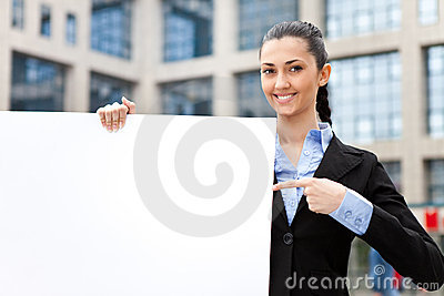 Businesswoman with blank paper