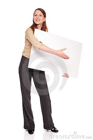 Businesswoman - blank sign handshake