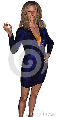 Businesswoman in a blue costume 2