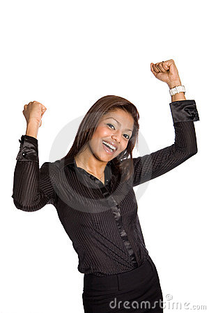 businesswoman with both arms up high,