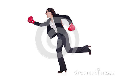 Businesswoman in boxing concept