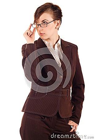 Businesswoman in brown suit