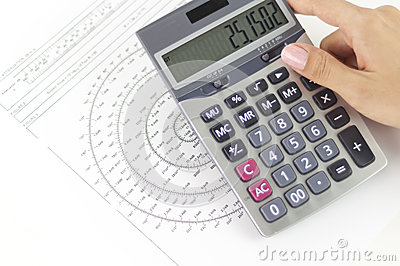 Businesswoman calculating noise values