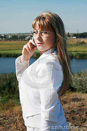 Businesswoman calling by mobile phone