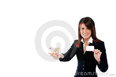Businesswoman with card and money