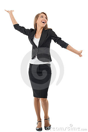 Businesswoman celebrating her success