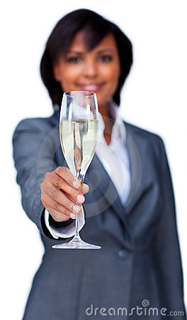 Businesswoman celebrating a success with Champagne