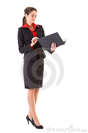 Businesswoman checks something in black folder