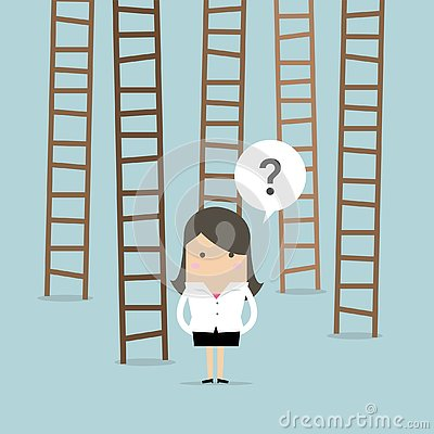 Free Businesswoman Choices Ladder To Success. Royalty Free Stock Photos - 130439768