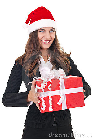 Businesswoman with christmas gift