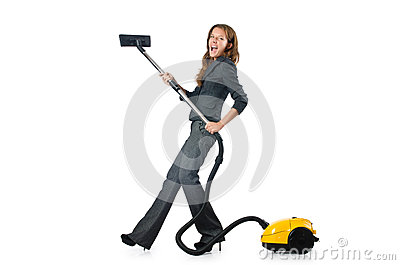 Businesswoman cleaning