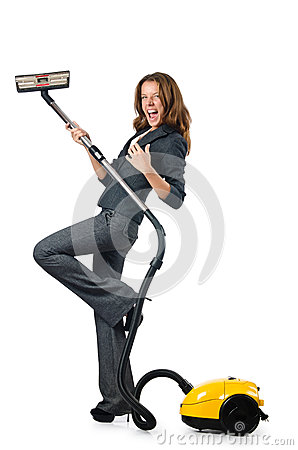 Businesswoman cleaning with  cleaner