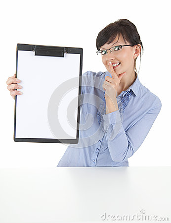 Businesswoman with clipboard keeping silent