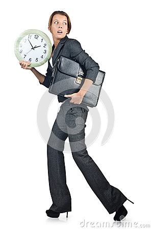 Businesswoman with clock