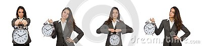 Businesswoman with clock missing her deadlines Stock Photo