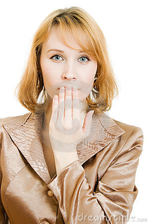 Businesswoman closes the mouth hand