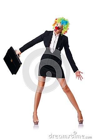 Businesswoman in clown costume