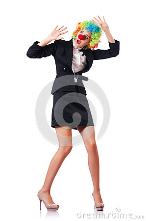 Businesswoman in clown costume