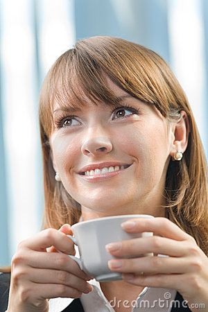 Businesswoman with coffee
