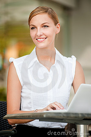 Businesswoman With Coffee & Laptop