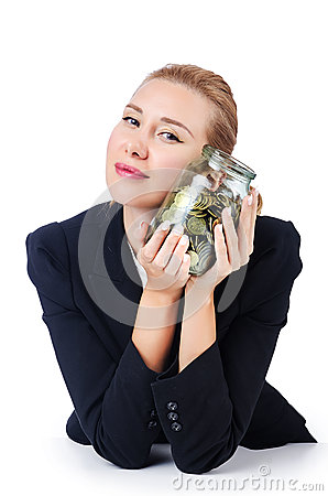 Businesswoman with coins