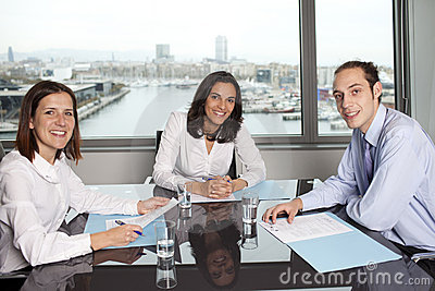 Businesswoman with collegues