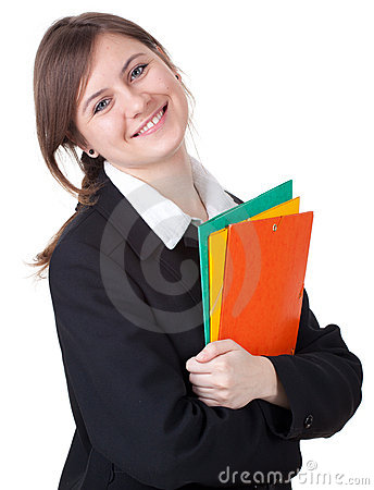 Businesswoman with colorful folders