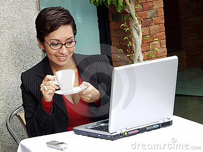Businesswoman computer.