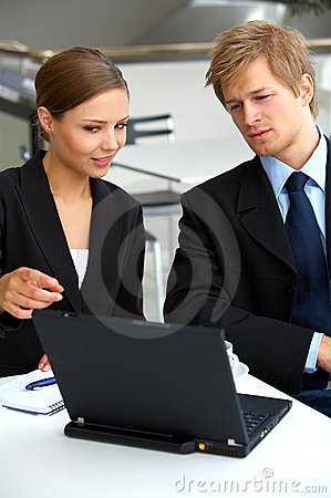 Businesswoman consulting a partner