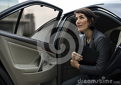 Businesswoman Corporate Taxi Transport Service Concept Stock Photo