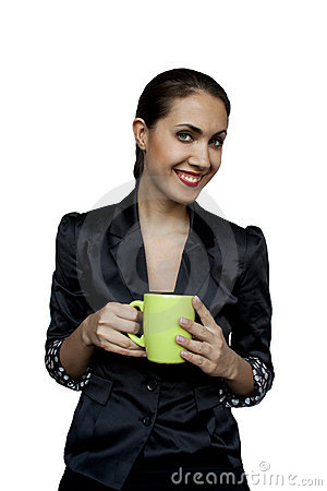Businesswoman with a cup