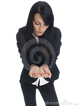 Businesswoman - cupped hands