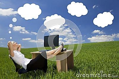 Businesswoman Day Dreaming Green Field Office