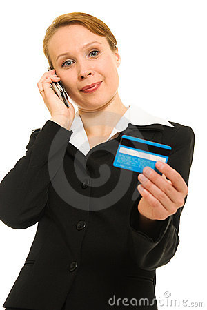 Businesswoman with a debit card